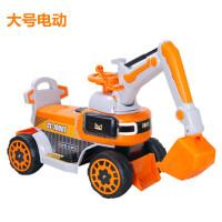 儿童电动挖掘机男孩玩具车挖土机可坐可骑大号钩机工程车挖机 黄色电动挖机 官方标配