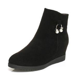 Tata/他她2017冬黑色牛剖层绒面珍珠饰扣内增高女休闲靴51601DD7