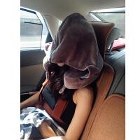 超大连帽记忆棉U型枕便携护颈枕带帽子脖子u形枕飞机旅行颈椎枕头 灰色记忆棉(含收纳袋)