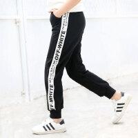 女童裤子新款春装儿童春夏季黑色女孩长裤中大童宽松运动裤子