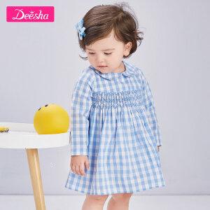 【2折价:49】笛莎婴童连衣裙2019春装新款小翻领套头甜美小女孩宝宝格子裙子