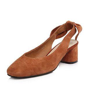 Tata/他她2018春专柜同款羊皮绒面通勤粗高跟女凉鞋S1414AH8