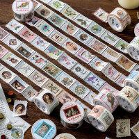 陌墨复古邮票模切手帐和纸胶带整卷 贴纸手账胶带异形可撕diy装饰