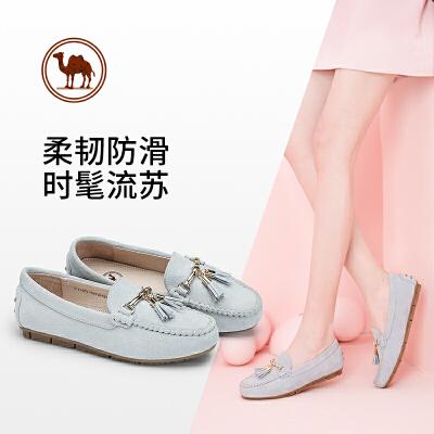 骆驼牌女鞋时尚流苏休闲豆豆鞋女士舒适套脚平底单鞋~