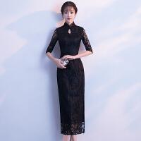 黑色少女蕾丝旗袍中长款中袖淑雅气质改良版刺绣修身连衣裙女 黑色