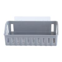 免打孔塑料置物架卫生间用品厕所浴室壁挂架子收纳篮子洗漱架 浅灰色 2个装