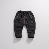 男童加绒裤子冬款宝宝长裤夹棉加厚小童婴儿女棉裤外穿1-2-3-4岁 黑色
