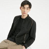 MECITY男装春秋羊毛时尚棒球领撞色夹克外套韩版