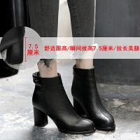 大码粗跟马丁靴子春秋冬季2018新款百搭韩版高跟女鞋秋款短靴矮靴