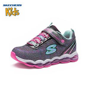 斯凯奇童鞋 (SKECHERS) 女童闪灯鞋 魔术贴运动鞋 超轻缓震休闲跑步鞋10833L-BKMT 黑色/多彩色