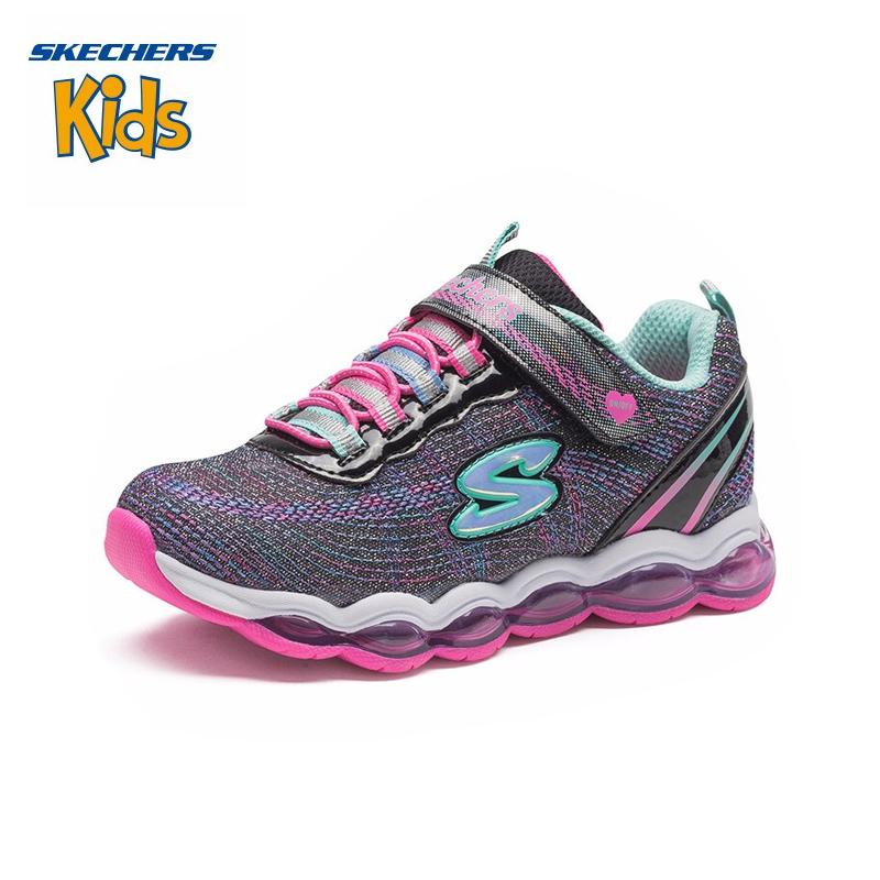 斯凯奇童鞋 (SKECHERS) 女童闪灯鞋 魔术贴运动鞋 超轻缓震休闲跑步鞋10833L-BKMT 黑色/多彩色斯凯奇秋季新款