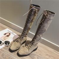 英伦风时尚绒面方头前系带高筒靴女秋冬加绒粗跟棉靴长筒骑士靴潮