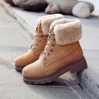 雪地靴女2018新款冬季粗跟圆头棉鞋松糕底保暖棉靴羊羔毛短靴加绒