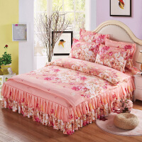 加厚床裙式床罩四件套 婚庆结婚床上床套款床单单件床群1.8米2.0m