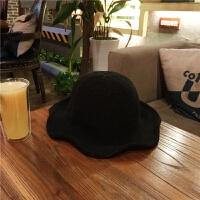 chic针织渔夫帽子夏天女士韩版大檐遮阳礼帽折叠针织波浪沙滩盆帽 黑色 光板(针织) M(56-58cm)