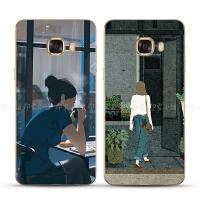三星s7/s7e/C5/C7/c9pro手机壳保护套插画女生文艺小清新个性