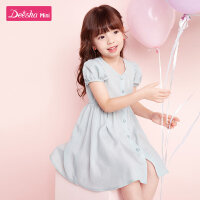 笛莎女童连衣裙2020夏季新款儿童时尚洋气裙子小女孩纯色连衣裙