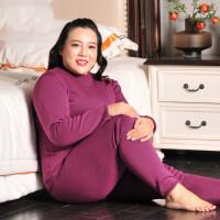 加肥加大码女士加绒加厚保暖内衣中老年胖妈妈冬季高领保暖衣套装