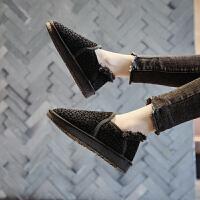 雪地靴女冬2018新款韩版百搭豹纹学生加厚保暖棉鞋面包鞋加绒短靴 黑色 雪地靴