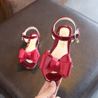 女童凉夏季女童鞋小高跟蝴蝶结公主鞋中大童女孩鞋