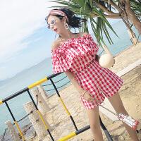 2018夏季新款韩版气质时尚百搭修身显瘦格子上衣+休闲短裤女套装 红色