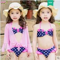 韩版儿童泳衣分体比基尼三件套可爱宝宝泳装女孩小中大童公主泳装