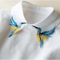 韩国蓝鸟刺绣假领子女衬衫百搭假领冬季新款白色毛衣装饰领衬衣领 白色 飞鹤