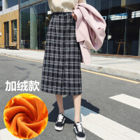 №【2019新款】冬天美女穿的半身裙女新款中长款包臀格子长裙高腰一步裙子秋