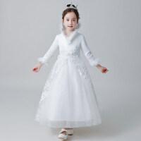 儿童礼服公主裙蓬蓬纱女童婚纱长袖晚礼服花童加厚钢琴演出服冬季
