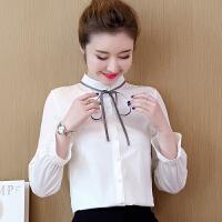 秋打底衫上衣韩版长袖雪纺衫女立领系带打底衫上衣女