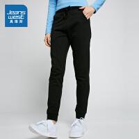 [尾品汇到手价:67.9元]真维斯休闲裤女 2018春装女装纯棉修身针织长裤学生运动裤潮
