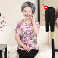 2018新款中老年人夏�b女�b奶奶�b七分袖老人套�b春夏�b6070�����b夏�b短袖