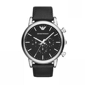 阿玛尼(Emporio Armani)手表 皮质表带经典休闲时尚石英男士腕表 AR1828