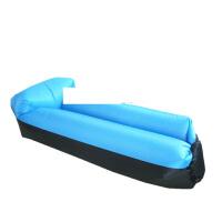 户外懒人空气沙发床便携室内折叠拼色自带枕头充气床沙滩懒人睡袋 加厚款 黑+天蓝色