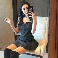 夏季女装新款复古性感露背不规则V领抹胸连衣裙高腰短裙小黑裙潮