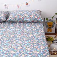 纯棉老粗布床单夏季棉麻三件套凉席加厚帆布亚麻儿童卡通床单床笠 紫罗兰 小碎花