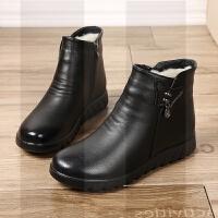 中老年老人妈妈棉鞋女冬季保暖加绒真皮鞋软底舒适防滑平底短靴子SN2588 877109 黑色