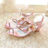 儿童凉鞋舞蹈夏女童公主鞋蓝色牛筋底水晶高跟鞋
