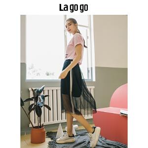 【清仓3折价77.7】Lagogo2019夏季新款黑色高腰网纱半身裙女飘逸中长裙宽松A字裙子HABB235Y44