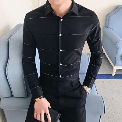 夏季气质商务时尚新款男士休闲长袖衬衫韩版帅气修身衬衣8
