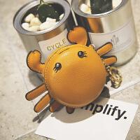 新款韩版可爱卡通零钱包小螃蟹女包挂件时尚钥匙扣迷你小包包
