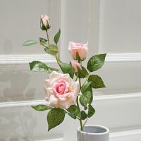 3头高品质仿真玫瑰花落地假花客厅摆放花卉绢花仿真花束装饰花 粉红色 3头玫瑰