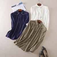 帅气铆钉装饰 夏季宽松显瘦长袖衬衫女 A70