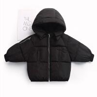 加厚儿童羽绒男女童外套宝宝上衣短款面包服婴儿冬韩 黑色 标准码