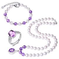 珍珠项链送妈妈正圆形强光淡水白珍珠项链套装天然紫水晶吊坠新款