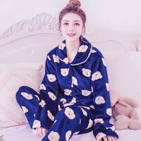秋冬季女士珊瑚绒睡衣韩版卡通长袖加厚加绒珊瑚绒保暖家居服套装