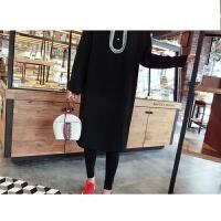 2018春装韩版宽松显瘦甜美减龄时尚雪纺娃娃领连衣裙潮 黑色