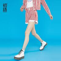 初语网红牛仔裤女春装新款休闲减龄红白竖条纹纯棉直筒短裤