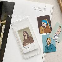 创意油画卡片8plus苹果x手机壳XS Max/XR/iPhone7plus硅胶6透明壳