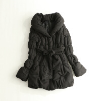 女冬装新款中长款棉衣 花苞领修身甜美外套1